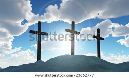 three cross on Calvary hill - stock photo