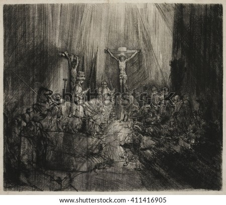 Three Crosses, by Rembrandt van Rijn, 1633-53, Dutch print, engraving, drypoint. This is a fourth state of a copperplate drypoint engraving, the artist developed through several versions. Through the - stock photo