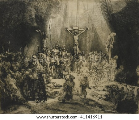 Three Crosses, by Rembrandt van Rijn, 1633-53, Dutch print, engraving, drypoint. This is a third state of a copperplate drypoint engraving, the artist developed through several versions. Through the - stock photo