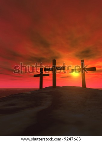 Three crosses on a hill on a background of a sunset - stock photo