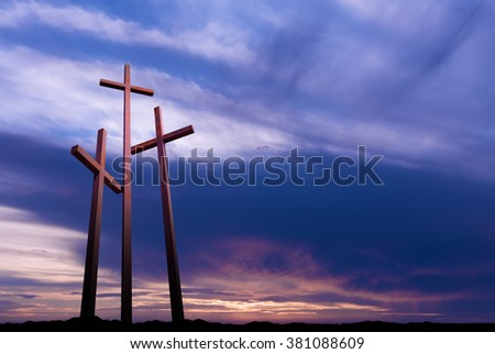 Three crosses on the mountain Golgotha representing the day of Christs crucifixion  - stock photo