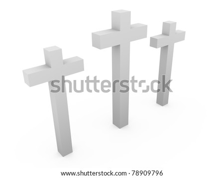 Three crosses over a white background. Christianity, faith and resurection symbol - stock photo