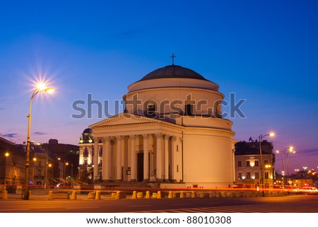 Three Crosses Plaza in Warsaw in the evening,  Poland - stock photo