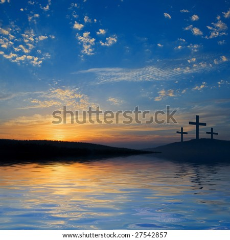 three crucifixions on the hill - stock photo