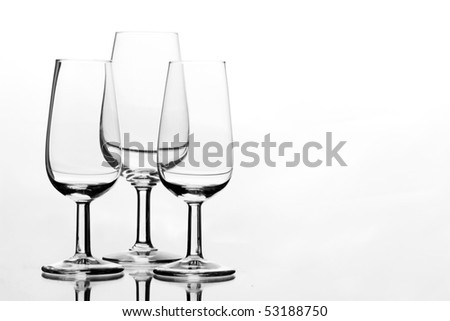 three crystal glasses, special to drink Spanish wine