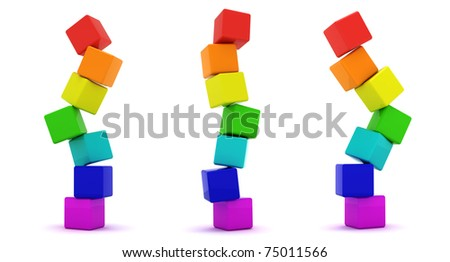Three cube towers isolated - stock photo
