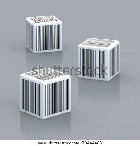 three cubes with barcodes 3d illustration - stock photo
