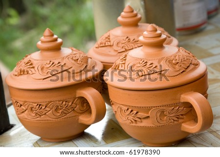 three cup from handmade - stock photo