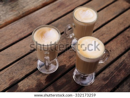 three cups of coffee - stock photo