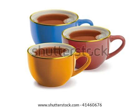 Three cups of tea - stock photo