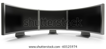 Three curved blank LCD computer monitor isolated on white - stock photo