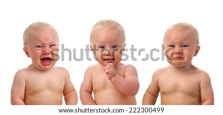 Three cute babies isolated on white - stock photo