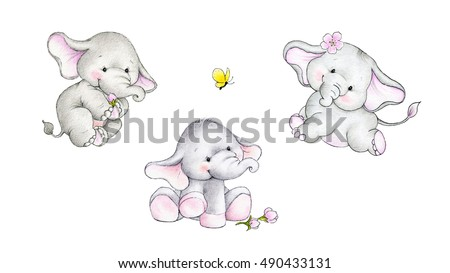 Three cute baby elephants