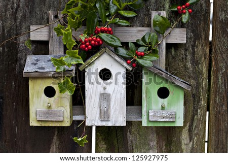 Three cute birdhouses with winter berries, ivy and old rustic wooden fence - stock photo