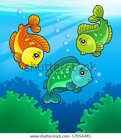 Three cute freshwater fishes - color illustration.