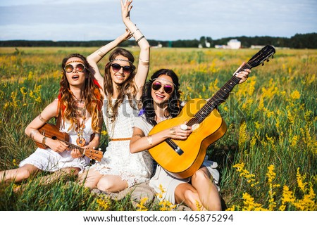 Think, that nude girl having fun with guitar