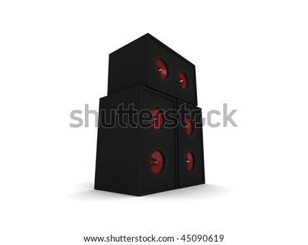 Three 3d black isolated speakers - stock photo