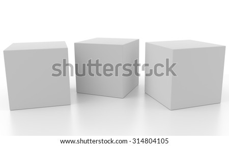 Three 3d blank concept boxes next to each other, with reflection, isolated on white background. Rendered illustration. - stock photo