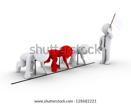 Three 3d businessmen are waiting for the signal to race - stock photo