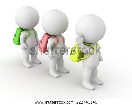 Three 3D characters wearing school bags, standing in line, isolated on white