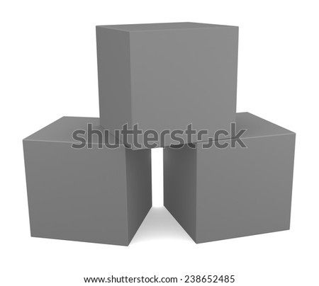 Three 3D cubes isolated on white - stock photo