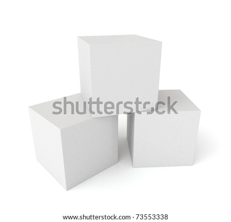 Three 3D cubes isolated on white background - stock photo