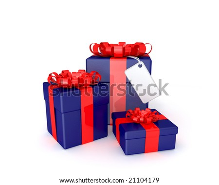 three 3d gift boxes with ribbons and a blank plate on a white background - stock photo