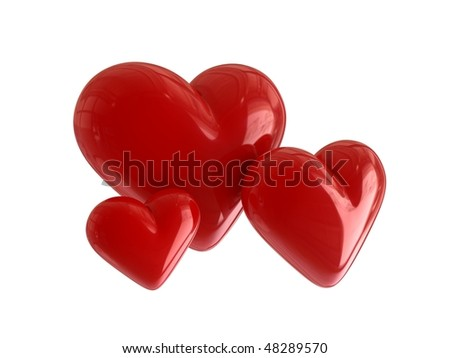 three 3d hearts - stock photo