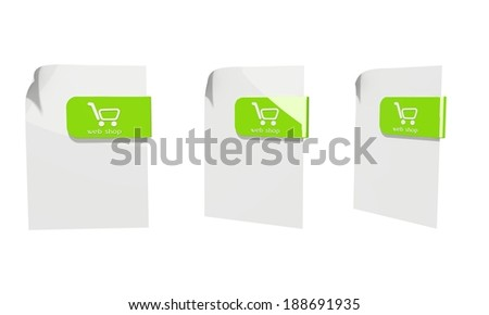 three 3d icons of a file web shop documents in various perspective isolated on white background - stock photo