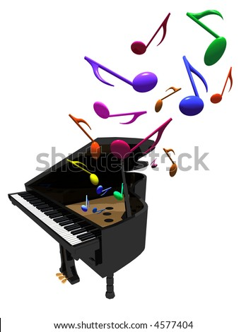 Three D Illustration Of Grand Piano With Colorful Notes Come Out It