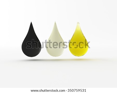 three  3d made drops of petrols and oil - stock photo