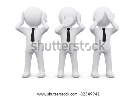 three 3D men as symbol of say, see or hear nothing - stock photo