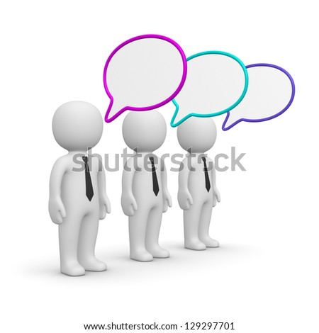 Three 3d men with speech bubbles.