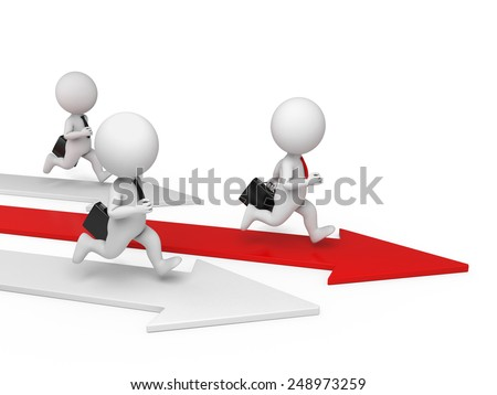 Three 3d people in a race. 3d image. Isolated white background.