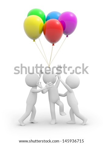Three 3d people snatching the balloons over their heads - stock photo
