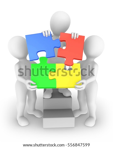 Three 3d people with jigsaw puzzle