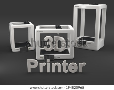 three 3D printers on grey background  - stock photo