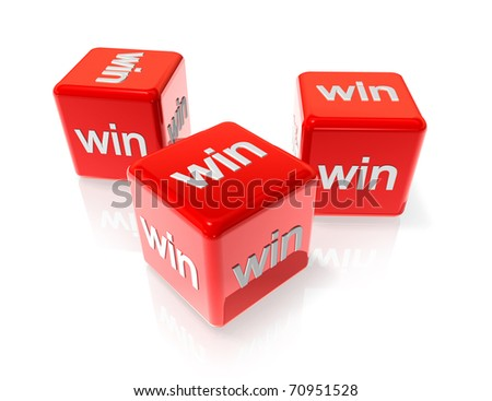 three 3D red dices with win text on all sides - stock photo