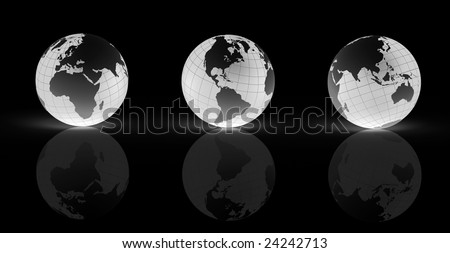 Three 3D rendered illustrations of Earth emitting light, in different views