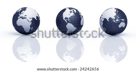 Three 3D rendered illustrations of Earth in different views