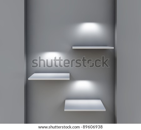 three 3d shelves and spotlights for exhibit in the grey interior - stock photo