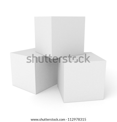 Three 3d white cubes isolated on white background - stock photo