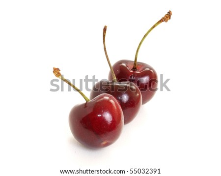 three dark red cherry isolated in white - stock photo