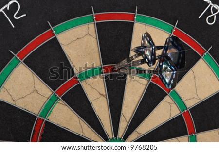 Three darts have hit target - stock photo