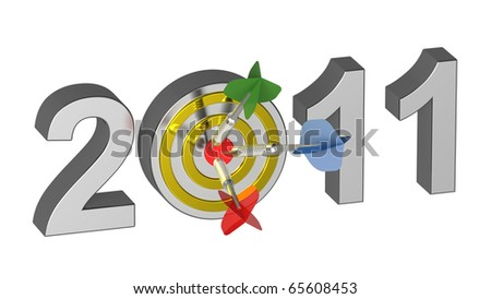 Three darts hitting target - New Year 2011. Computer generated 3D photo rendering. - stock photo