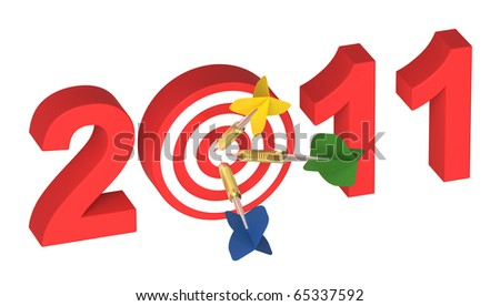 Three darts hitting target - New Year 2011 isolated on white. Computer generated 3D photo rendering. - stock photo