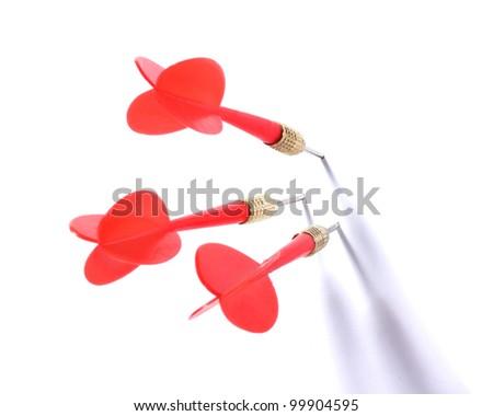 three darts isolated on white - stock photo