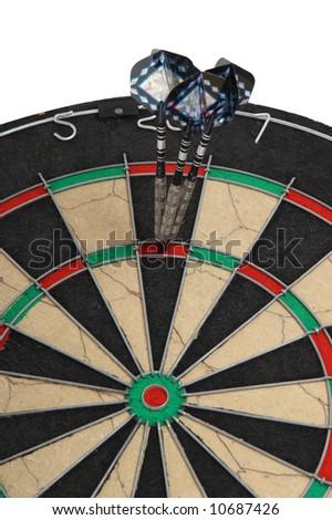 three darts, successful hit - stock photo