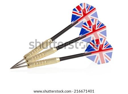 three darts with english flag - stock photo