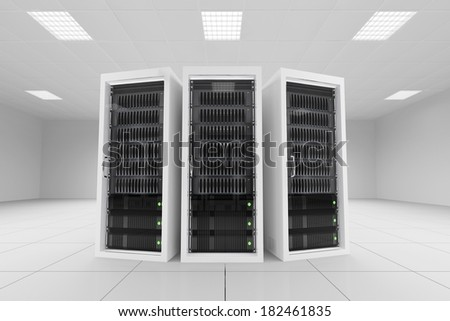 three data racks in server room bright white
